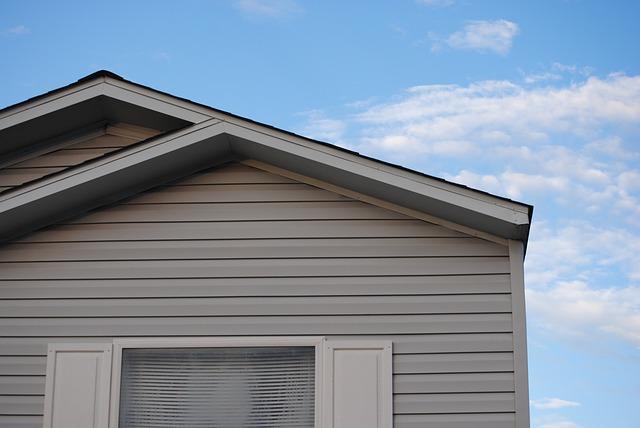 část, domu, střecha, obloha