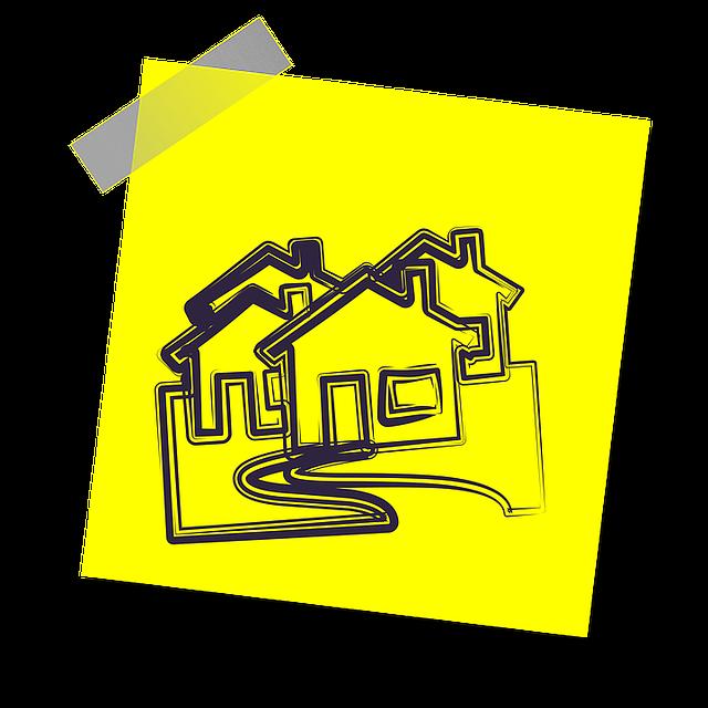 žlutý papírek, nákresy domečků