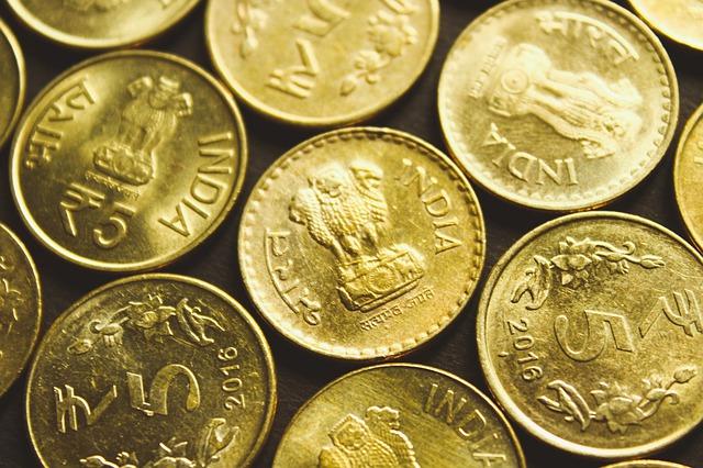 zlaté indické mince, detail
